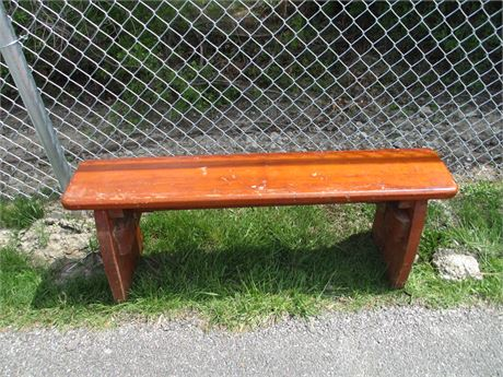 Antique Primitive Hand Crafted Heavy Wood Pine Bench Seat