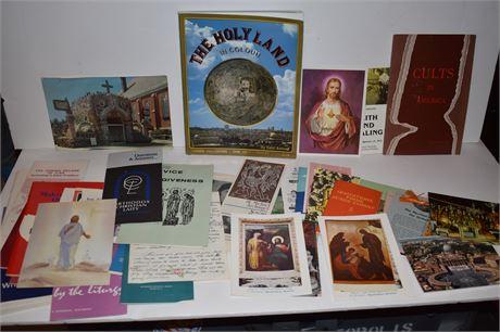 Holy Land Book and lot of religious ephemera