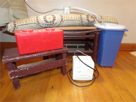 Step Stool, Sony Clock, Trash Cans, Electrical Strip, and More
