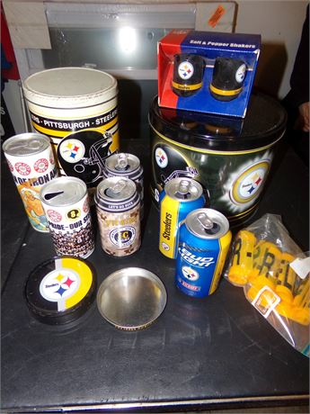 Pittsburgh Steeler's Tins, Cans, Shakers, and more