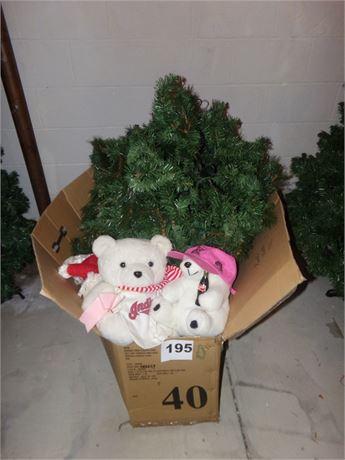 4 ft Christmas tree and Christmas bears