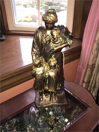 Heavy Plaster Mother with Children Statue