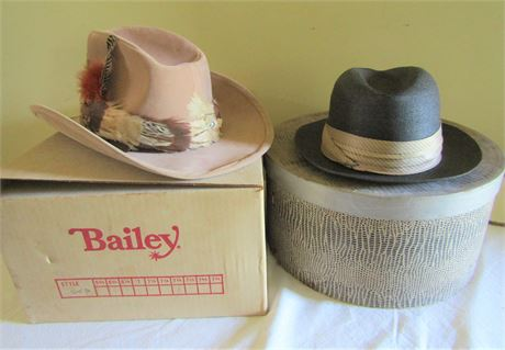 Vintage Stetson Premier Cowboy Hat and Bailey U-Rollit Cowboy Hat