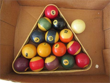 Vintage Pool Balls, Complete Set