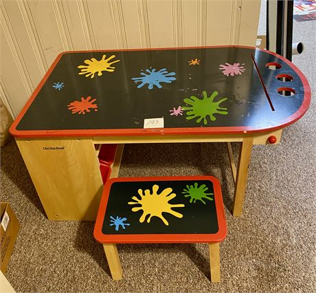 One Step Ahead Wooden Art Table w/Stool & Storage Containers