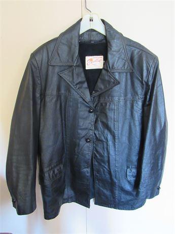 Black Leather Coat w/ Liner. Men's