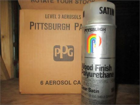 6 New Pittsburgh PPG Wood Finish Polyurethane Clear Satin Spray Paint