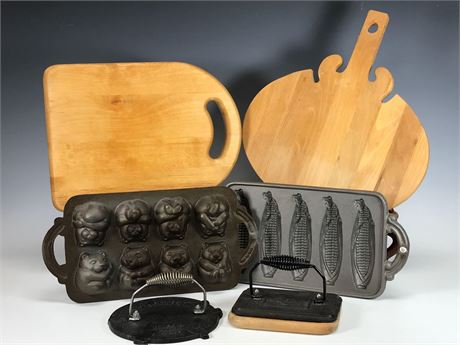 Cast Iron Cooking Utensils and Wood Cutting Boards