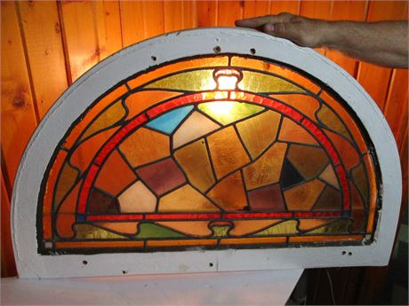 """Antique 33  1/2""""  Half Round Multi Color Leaded Stained Glass Windoe"""