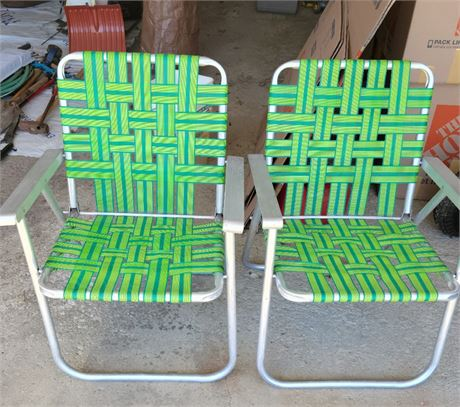 Webbed Lawn Chairs - Set of 2