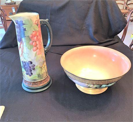 Vintage Belleek Tankard Pitcher and Leonard Vienna Austria Pasta Bowl