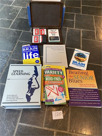 Brain Booster, Learning Books, and Audiotapes Lot