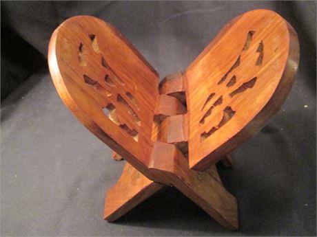 Vintage Carved Design Teak Wood Folding Plant shelf stand