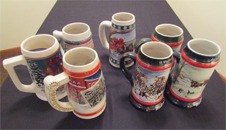 Budweiser Collectible Ceramic Beer Steins - Holiday Series
