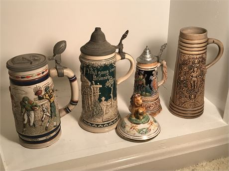 Balance of Beer Steins and Capodimonte Lid