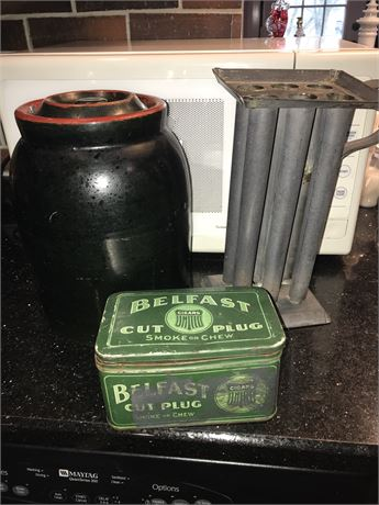 Kitchen Antiques Lot - Stoneware Cookie Jar, Tobacco Tin and Candle Mold