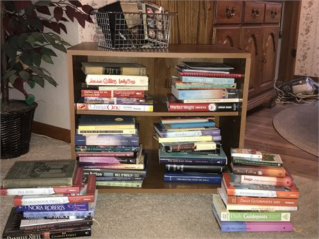Books Lot with Cart and Glasses