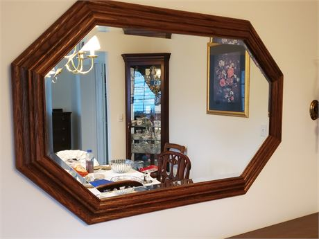 Beautiful Beveled Oak Wall Mirror