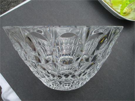 "Heavy 9"" Round Deep Glass Fancy Fruit Center Piece Bowl"