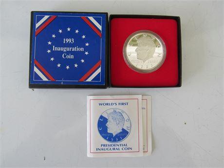 1993 Bill Clinton Silver Inauguration Coin in Box