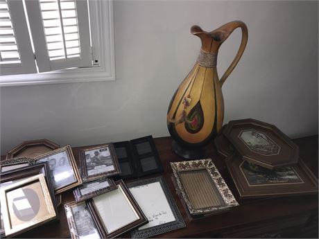 Decorative Ewer and Frames Lot