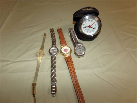 4 Watches and Small Clock