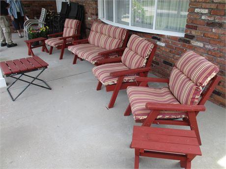 Complete 8 Pieces Genuine Redwood Patio Furniture Set