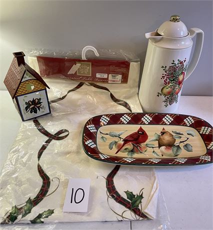 """Lenox """"For the Holidays"""" Lot - Table Runner, Thermal Carafe, Tray, Candle House"""