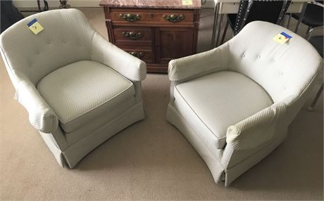 Pair of MCM Upholstered Barrel Chairs