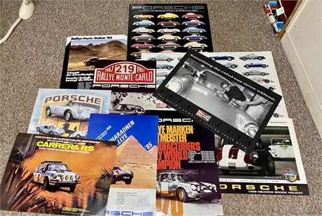 Massive Porsche Poster Lot with Multiple Copies to Keep or Resell