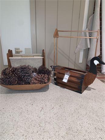 Vintage Goose Planter Box, Magazine Rack, Wooden Blanket Rack, & Carved Bowl