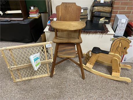 Wooden High Chair, Wooden Rocking Horse nd Baby Gate