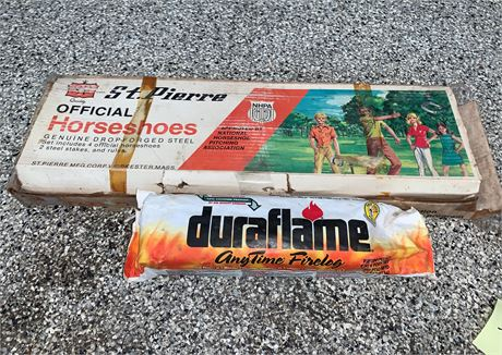 Vintage Horse Shoe Game and Duraflame