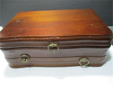 """Antique 13"""" Solid Wood Hand Crafted jewelry Box w/ Drawer"""