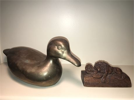 Brass Duck and Wood Lion