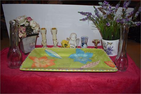 Large Pastel serving tray, Vases, Candlesticks, vintage lot