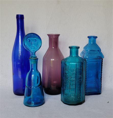 Blue Glass Bottle Lot