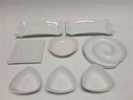 Ceramic White Sushi Dinnerware Dishes Group