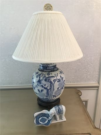Chinese Blue and White Lamp and Elephant Dish