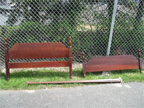 Vintage Solid Cherry Full Size Bed Head & Foot Board w/ Rails
