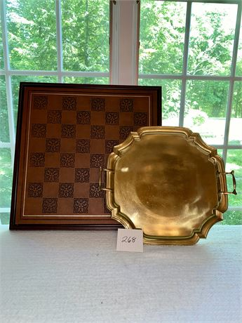 Wood and Brass Tray Lot