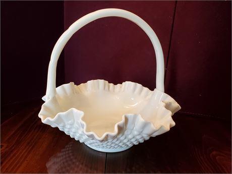 Vintage Fenton White Milk Glass Hobnail Basket