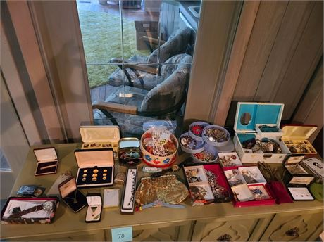 Large Lot Of Costume & Gold Filled Jewelry