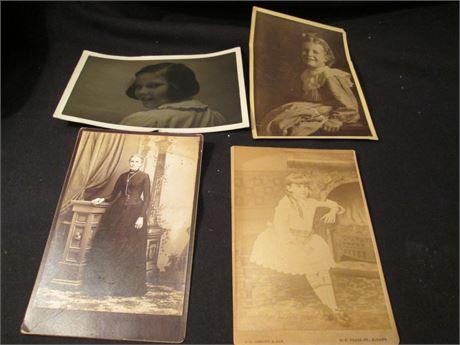 4 Pieces Mixed Lot Vintage Photographs Portraits Lot
