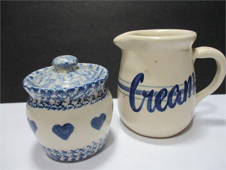 "4"" Roseville Pottery Sugar Bowl & 5"" Creamer Pitcher"