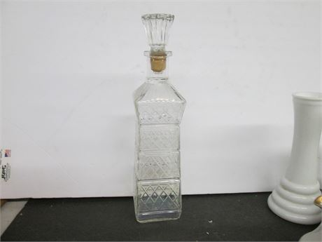 Vintage MCM Fancy Glass Liquor Decanter Bottle w/ Cork
