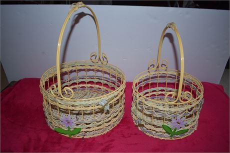 Nesting Easter Baskets-set of 2-Wire frame/Wicker basket