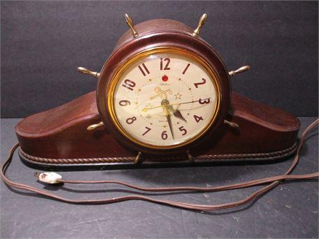 "Vintage 16"" Telechron Ships Wheel Nautical Mantle Electric Clock"