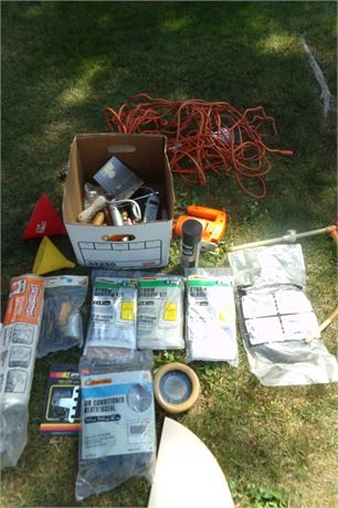 Box of assorted tools, Jigsaw, grease gun, etc
