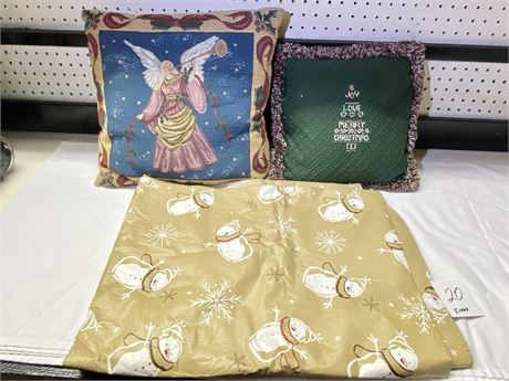 Christmas Decorative Pillows and Flannel Backed Vinyl Tablecloth